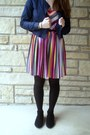 Hot-pink-pleated-dress-blue-denim-forever-21-jacket