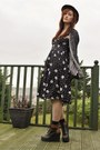 Black-primark-dress-brick-red-new-look-hat-black-two-tone-wedges-ebay-wedges