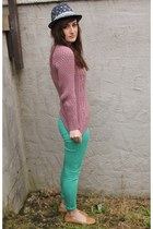 pink Peacocks jumper - aquamarine Peacocks jeans - bronze Peacocks loafers