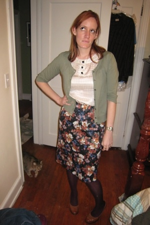 Gap sweater - banana republic blouse - vintage skirt - Target stockings - Mixit