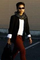 black black Marks & Spencer blazer - brick red skinny jeans Topman jeans