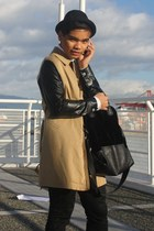tan DIY coat - black fedora H&M hat - white H&M Trend shirt - black Esprit bag