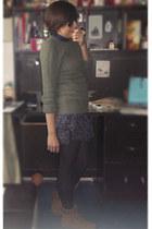 bronze vintage boots - navy pull&bear dress - olive green vintage sweater