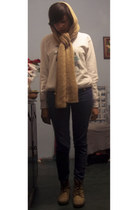 beige scarf - bronze boots - navy jeans - white sweatshirt
