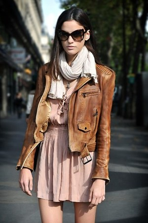 brown leather jacket - light pink dress - white scarf - dark brown glasses
