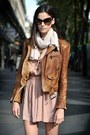 Light-pink-dress-brown-leather-jacket-white-scarf-dark-brown-glasses