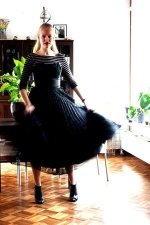 black lace tea length vintage dress - black cotton striped secondhand H&M shirt