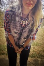 black leather leggings - red plaid shirt shirt - blue necklace accessories
