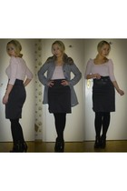 gray H&M coat - pink H&M sweater - gray H&M skirt - black H&M shoes