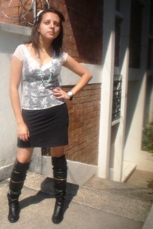 black boots - black dress - white blouse
