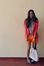Carrot-orange-thrifted-vintage-shorts-hot-pink-zara-blazer