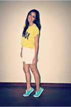 aquamarine Keds sneakers - yellow gr8 Zara shirt - white Gap shorts
