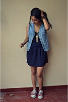 sky blue thrifted vest - navy Gap dress - brick red All Stars sneakers