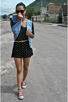 light blue jean Gap vest - black polka dot Forever 21 shorts