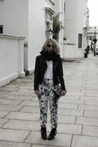 black acne boots - black Mango jacket - white acne top - black Topshop pants