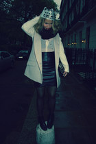 black H&M skirt - black acne boots - white Pinko blazer