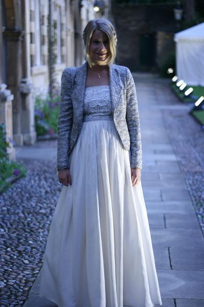 cream vintage dress - silver Zara blazer - silver Jimmy Choo pumps