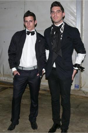 black Zara jacket - white Caramelo shirt - beige vintage scarf - white Zara belt