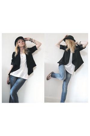 blue Bershka jeans - white H&M vest - black Primark blazer - beige