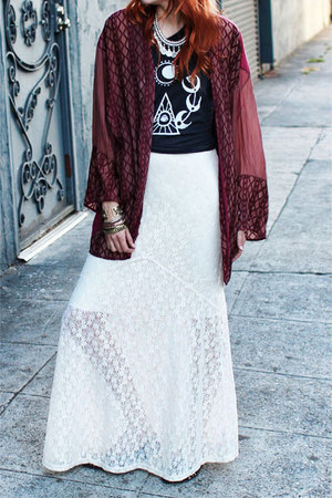 maroon Gypsan jacket - ivory Gypsan dress - black la lune mate vintage t-shirt