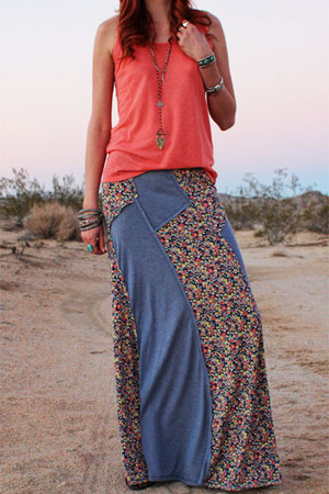 coral meadow Gypsan top - blue Gypsan skirt - free people necklace