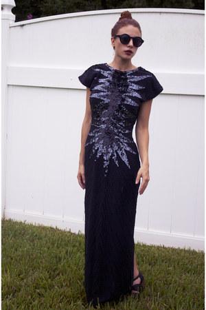 black Jeffrey Campbell heels - dark gray knife print Gypsy Gamine Vintage dress