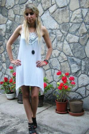 white dress - black shoes