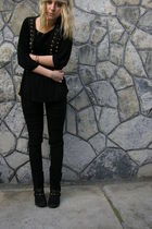 black Promod boots - black Mango blouse - black Vero Moda vest