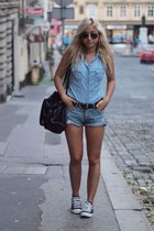 jeans Stradivarius shirt - jeans Bershka shorts - black conver sneakers