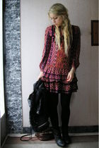 red Mango dress - black boots - brown H&M purse