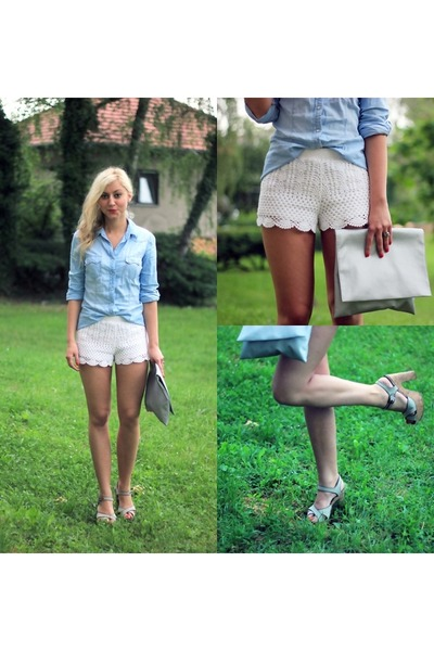 white lace H&M shorts - sky blue denim Stradivarius shirt