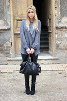 heather gray blouse - leather pants pants