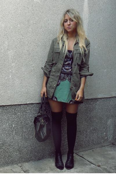 black stockings - black purse - green dress - green jacket