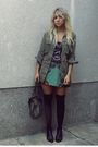 Black-stockings-black-purse-green-dress-green-jacket