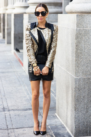 black HAUTE &amp; REBELLIOUS skirt - gold HAUTE &amp; REBELLIOUS jacket