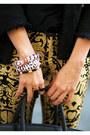Gold-mettalic-haute-rbellious-pants-black-vintage-haute-rbellious-hat