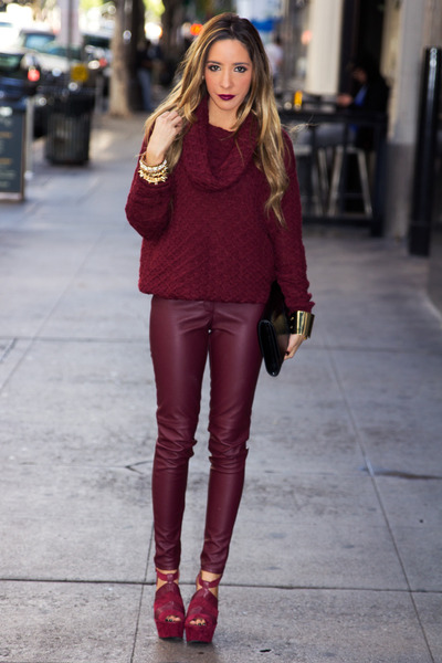 maroon sweater H&M sweater - maroon HAUTE & REBELLIOUS leggings