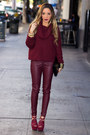 Maroon-sweater-h-m-sweater-maroon-haute-rebellious-leggings