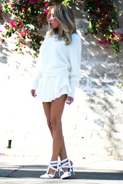 white HAUTE & REBELLIOUS heels - ivory HAUTE & REBELLIOUS sweater