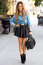 black HAUTE & REBELLIOUS skirt - light blue HAUTE & REBELLIOUS shirt