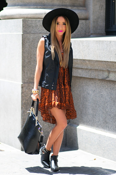 HAUTE & REBELLIOUS hat - HAUTE & REBELLIOUS boots - HAUTE & REBELLIOUS dress
