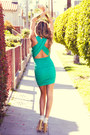 Aquamarine Knit Open Back HAUTE & REBELLIOUS Dresses