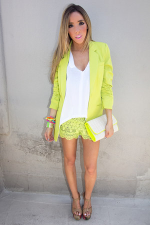 lime green HAUTE &amp; REBELLIOUS blazer - lime green HAUTE &amp; REBELLIOUS shorts