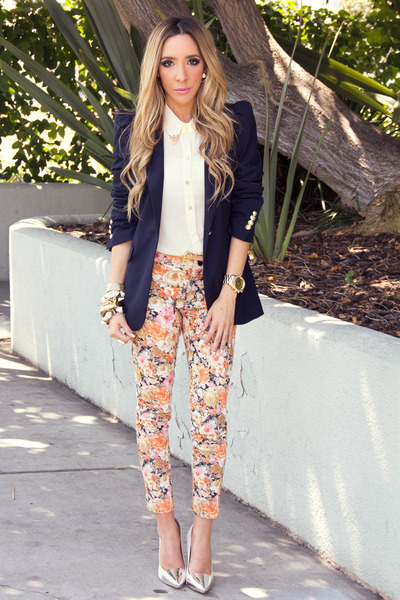 navy Zara blazer - eggshell HAUTE & REBELLIOUS blouse