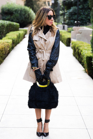 tan leather sleeve HAUTE &amp; REBELLIOUS coat