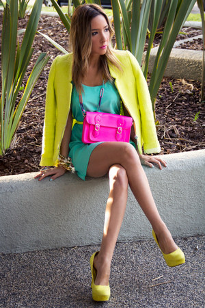 yellow Zara jacket - aquamarine HAUTE &amp; REBELLIOUS dress
