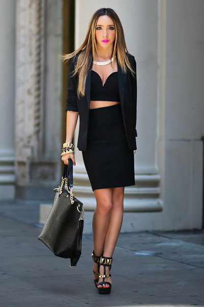 HAUTE & REBELLIOUS blazer - HAUTE & REBELLIOUS bag - HAUTE & REBELLIOUS skirt
