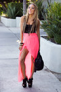 Hot-pink-neon-chiffon-haute-rebellious-skirt