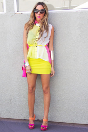 light yellow HAUTE &amp; REBELLIOUS blouse - hot pink HAUTE &amp; REBELLIOUS bag