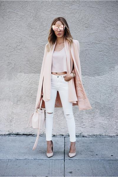blush HAUTE & REBELLIOUS blazer - high waisted HAUTE & REBELLIOUS jeans